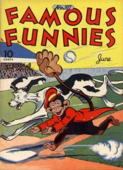 Famous Funnies 107 - Monkey - Dog - Catch - Base - Baseball