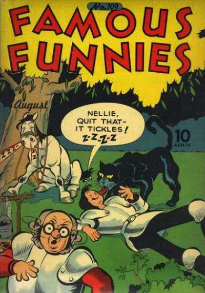 Famous Funnies 109 - White Horse - Black Cat - Suit Of Armor - Tree - Eye Glasses
