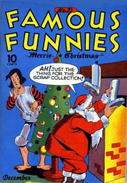 Famous Funnies 113 - Santa - Christmas - Metal Stockings - Knight - Christmas Tree