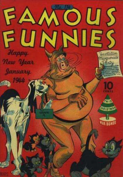 Famous Funnies 114 - Happy New Year - No 114 - Dog - Cat - War Bonds