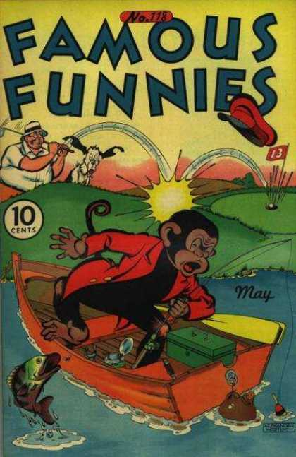 Famous Funnies 118 - Monkey - Dog - Golf - Hit On Head - Boat