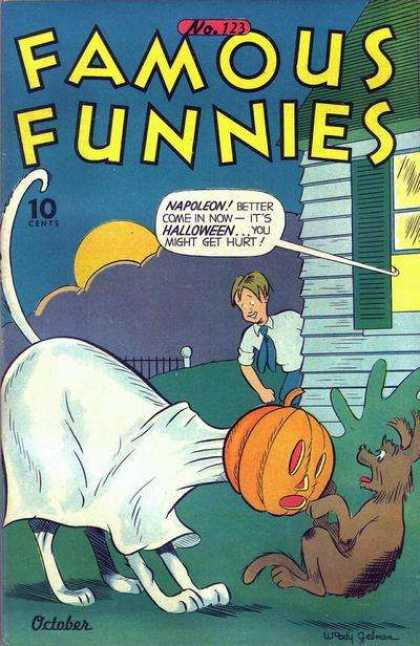 Famous Funnies 123 - Funny - Halloween - Pumpkin - Dog - Scary