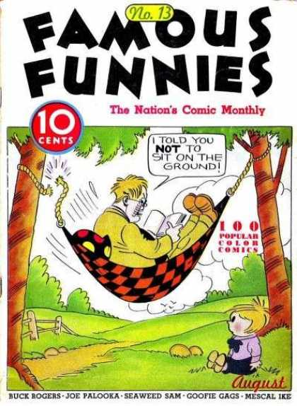 Famous Funnies 13 - No 13 - Nations Comic Monthly - 10 Cents - 100 Popular Color Comics - August