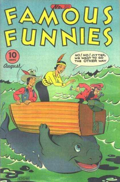 Famous Funnies 133 - Indians - Cowboys - Westerns - Funny Pages - Monkey Ina Boat With Wrench
