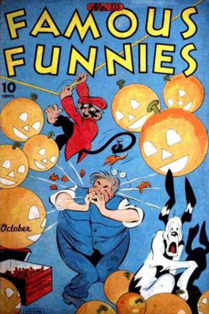 Famous Funnies 135 - Jack O Lanterns - Monkey - Man - Glasses - Dog