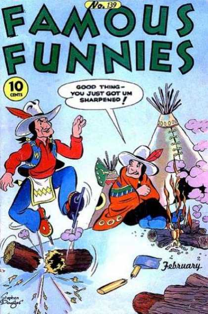 Famous Funnies 139 - Indian - No 139 - Teepee - February - Ice Skates