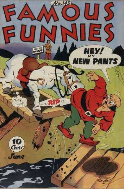 Famous Funnies 143 - Horse - Bridge - River - Medieval - Pants