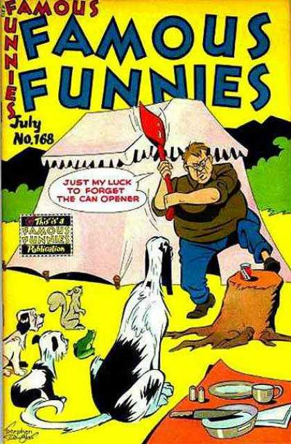 Famous Funnies 168 - Shovel - Tent - Can - Enjoying The Outdoors - Tree Stump