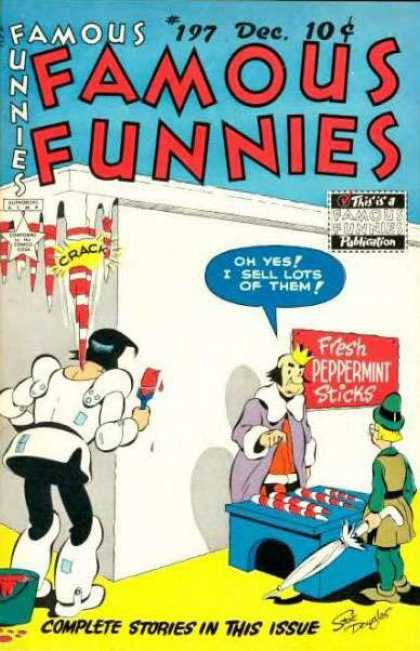 Famous Funnies 197 - Famous Funnies - Peppermint Sticks - Knight Painting Icicles - King Peppermint Sticks - Red And White Striped Icicles