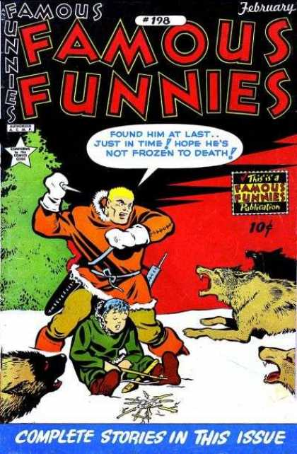 Famous Funnies 198 - White Snow - Wolf-like Animals - Green Tree - Young Person On Ground - Protective Rescuer