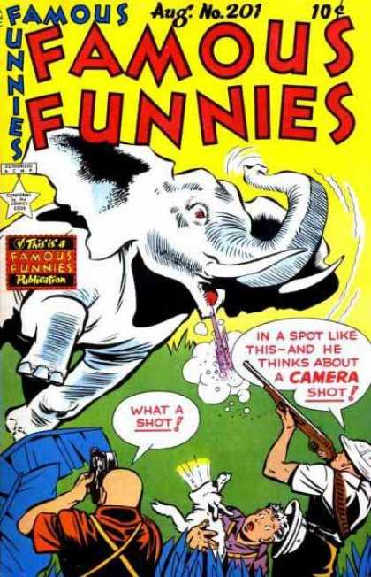 Famous Funnies 201 - Elephant - Gun - Dog - Camera - Leaves