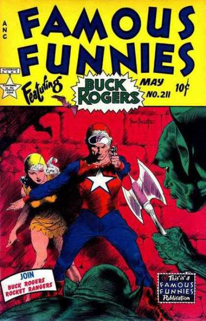 Famous Funnies 211 - Super Hero - Buck Rogers - Woman - Pointed Ears - Weapon - Frank Frazetta
