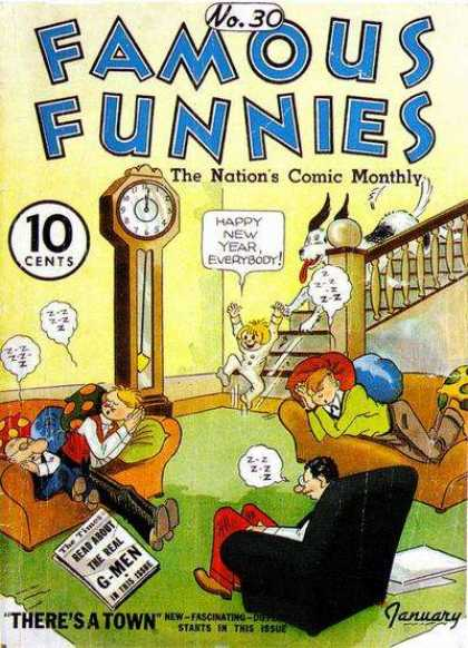 Famous Funnies 30 - 10 Cents - Clock - Sofa - Dog - Stairs