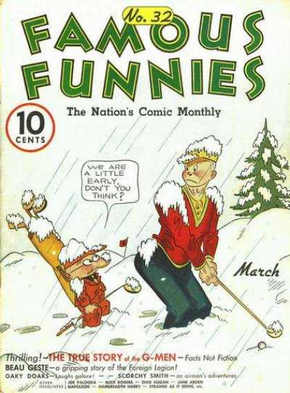 Famous Funnies 32 - Golfing - Winter - Snow - Pine Tree - Caddy