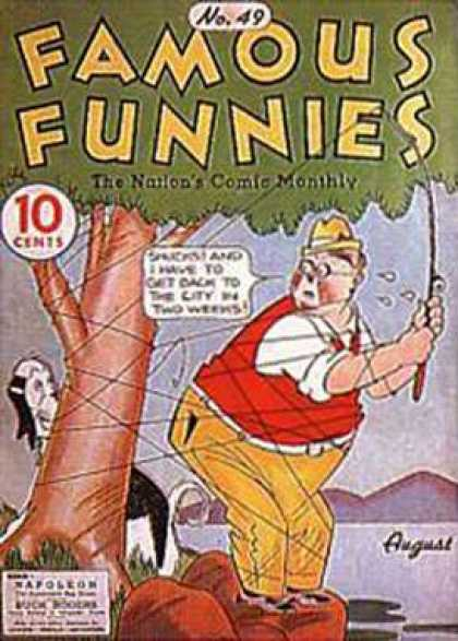 Famous Funnies 49 - Cartoons - Man - Dog - Tree - River