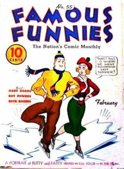 Famous Funnies 55 - Ice Ski - February - 10 Cents - Butty And Fatty - Woman In Red