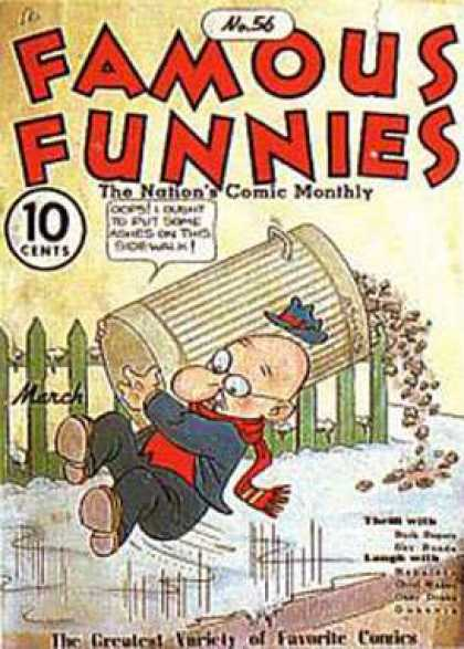 Famous Funnies 56 - Trashcan - Green Picket Fence - Ice - Bald Man - Glasses
