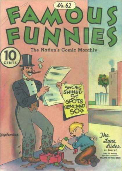 Famous Funnies 62 - Famous Funnies - Shoes Shined - Spot Removed - The Lone Rider - The Nations Comic Monthly