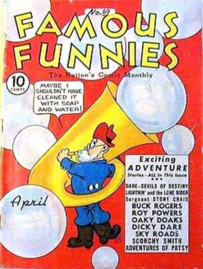 Famous Funnies 69 - The Nations Comic Monthly - Tuba - Bubbles - Dare-devils Of Destiny - Lightnin And The Lone Rider