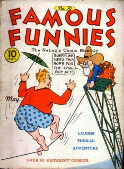 Famous Funnies 70 - Cowboy - Umbrella - Tightrope - Pipe - Chaps