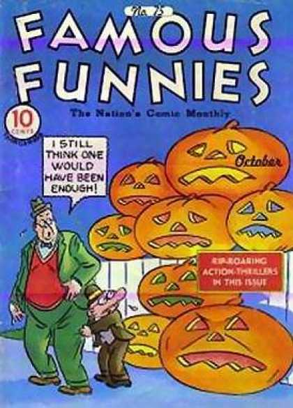 Famous Funnies 75 - Pumpkins - Jackolanterns - Two Men - Scared Men - Action Thrillers