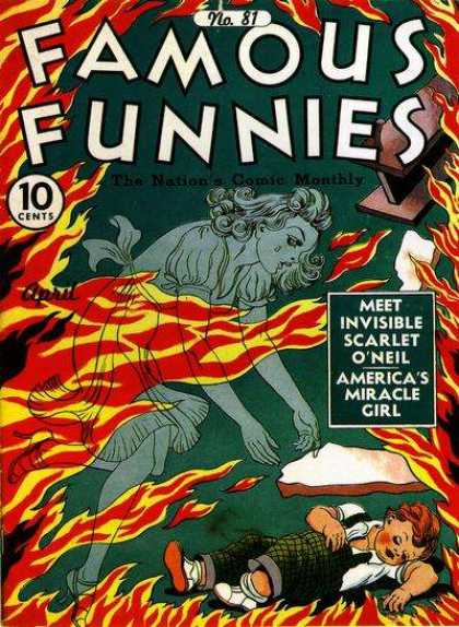 Famous Funnies 81 - No 81 - The Nations Comic Monthly - Invisible Scartlet Oneil - Fire - April Issue