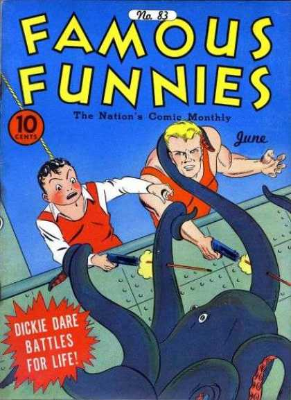 Famous Funnies 83 - The Nations Comic Monthly - Octopus - Dickie Dare - Battles For Life - Guns