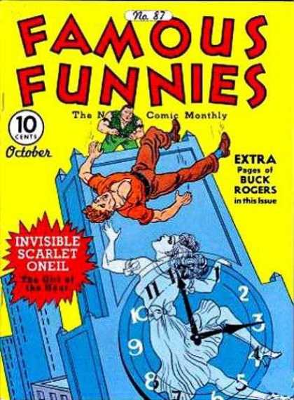 Famous Funnies 87 - Clock - Ghost - Man Falling - Building - Long Hair