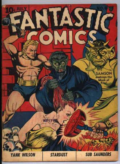 Fantastic Comics 8 - Skulls - Pulled Hair - Green Budah - Mask - Bound Girl Kneeling
