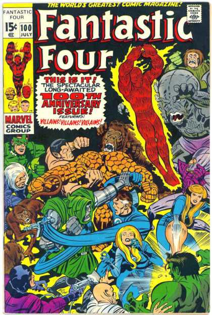 Fantastic Four 100 - Approved By The Comics Code - Human Torch - Thing - Monkey - Invisible Woman - Jack Kirby