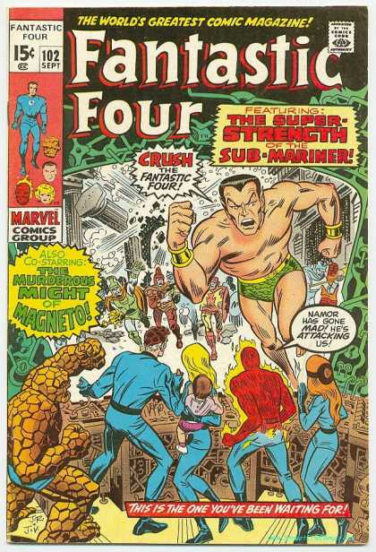 Fantastic Four 102 - Namor - Sub-mariner - Thing - Super Strength - Murderous Might