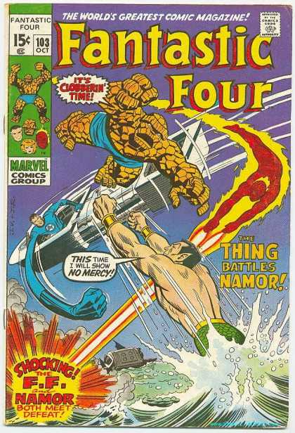 Fantastic Four 103 - Namor - Thing - Clobbering Time - Defeat - Water