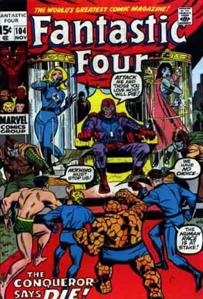 Fantastic Four 104 - Fighting - Man - Woman - Power - Fire