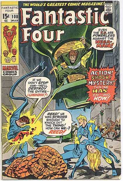 Fantastic Four 108 - City - Flying Saucer - Battle - Streets - Curled Up Hero - John Buscema