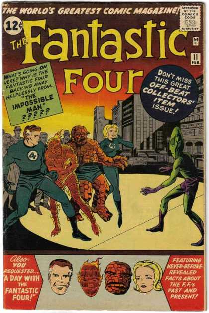 Fantastic Four 11 - The Worlds Greatest Comic Magazine - The Impossible Man - Off-beat Collectors Item Issue - A Day With The Fantastic Four - City Sidewalk - Jack Kirby