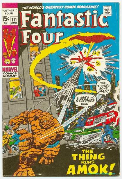 Fantastic Four 111 - Thing - Marvel - Magic Comics - The Thing - Amok - John Buscema