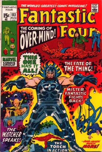 Fantastic Four 113 - Marvel - Overminds Coming - Things Fate - The Watcher - The Torch - John Buscema