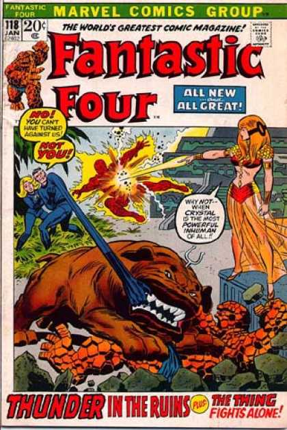 Fantastic Four 118 - Dog Like Creature - The Thing - Rocks - Ruins - Grass - John Buscema