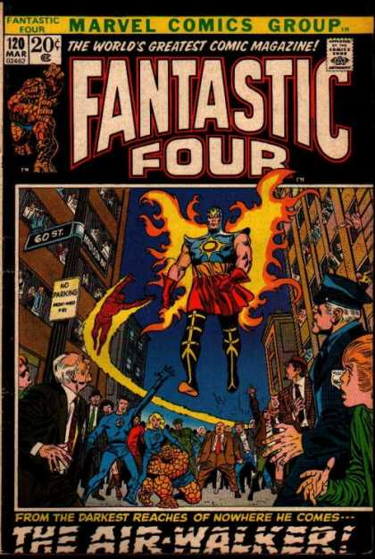 Fantastic Four 120 - Air Walker - Fire Wings - Flying - Street - Fear - John Buscema