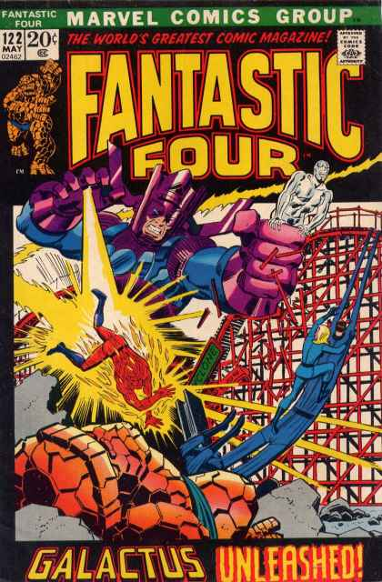 Fantastic Four 122 - Silver Surfer - Galacticus - The Thing - Rollercoaster - The Human Torch - John Buscema