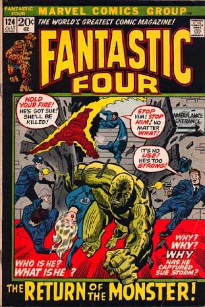 Fantastic Four 124 - Human Torch - Fantastic Four - Sue Storm - The Monster - The Thing - Joe Sinnott, John Buscema