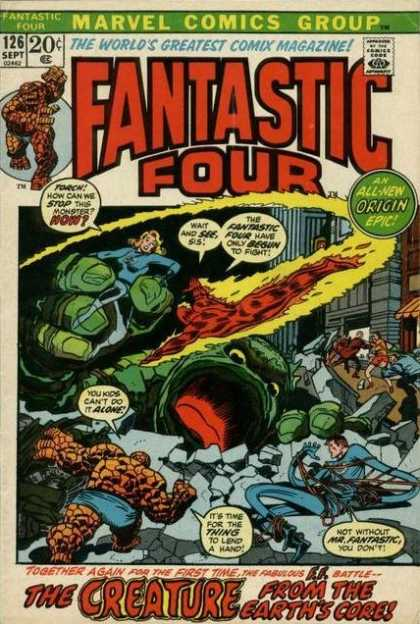 Fantastic Four 126 - Human Torch - Thing - Marvel Comics Group - Green Monster - The Creature From The Earths Core - Joe Sinnott, John Buscema