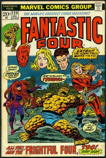 Fantastic Four 129 - Medusa - Thundra - Thing - Human Torch - Marvel - John Buscema