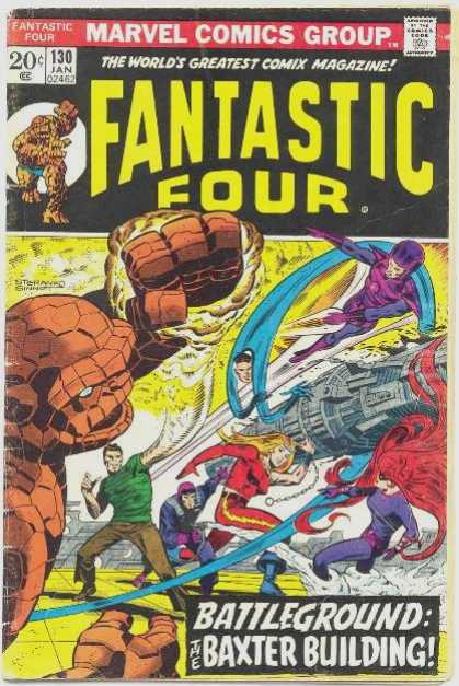 Fantastic Four 130 - Rock Man - Gun - Battleground - Woman - Comic - Jim Steranko, Joe Sinnott