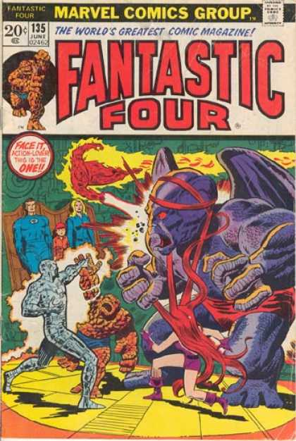 Fantastic Four 135 - Thing - Medusa - Invisible Girl - Mr Fantastic - Human Torch