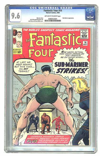 Fantastic Four 14 - Thing - Sub-mariner - Fantastic - Four - Cgc Universal Grade 96 - Jack Kirby