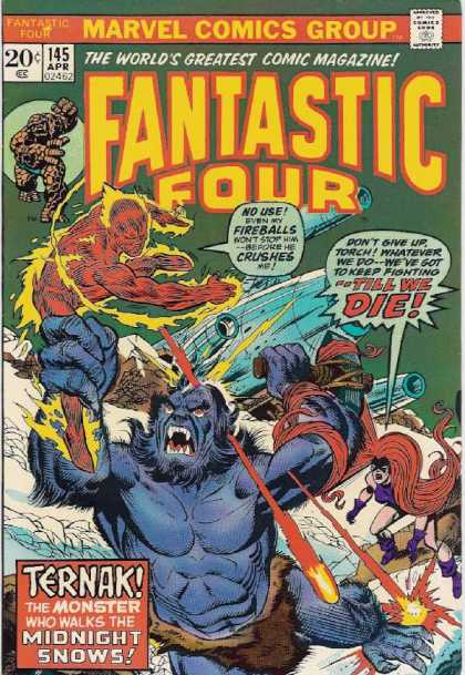 Fantastic Four 145 - Hair - Flame - Rock - Monster - Human Torch