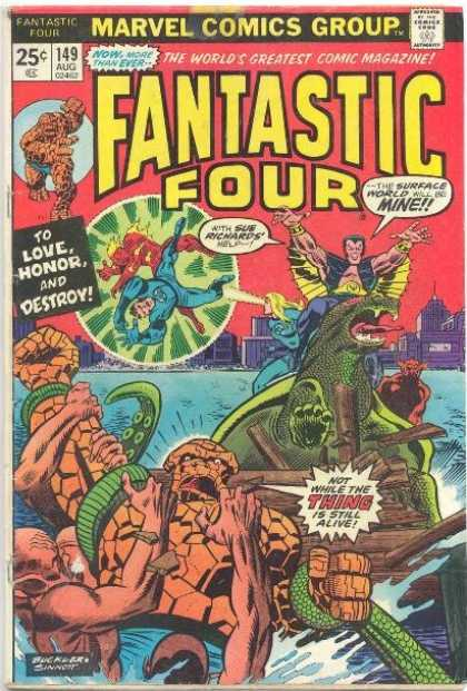 Fantastic Four 149 - Thing - Mr Fantastic - Human Torch - Sub-mariner - Sea - Richard Buckler