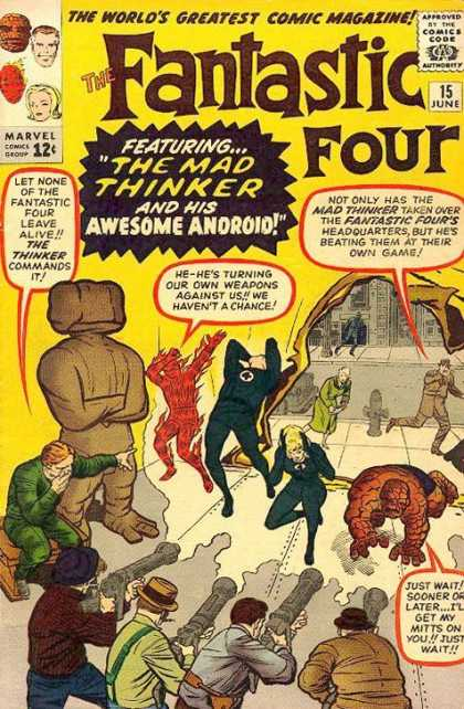 Fantastic Four 15 - Thing - Human Torch - Mr Fantastic - Awesome Android - Jack Kirby