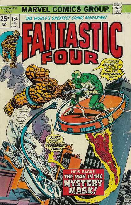 Fantastic Four 154 - Johnny Storm - The Thing - Mr Fantastic - The Man In The Mystery Mask - Marvel